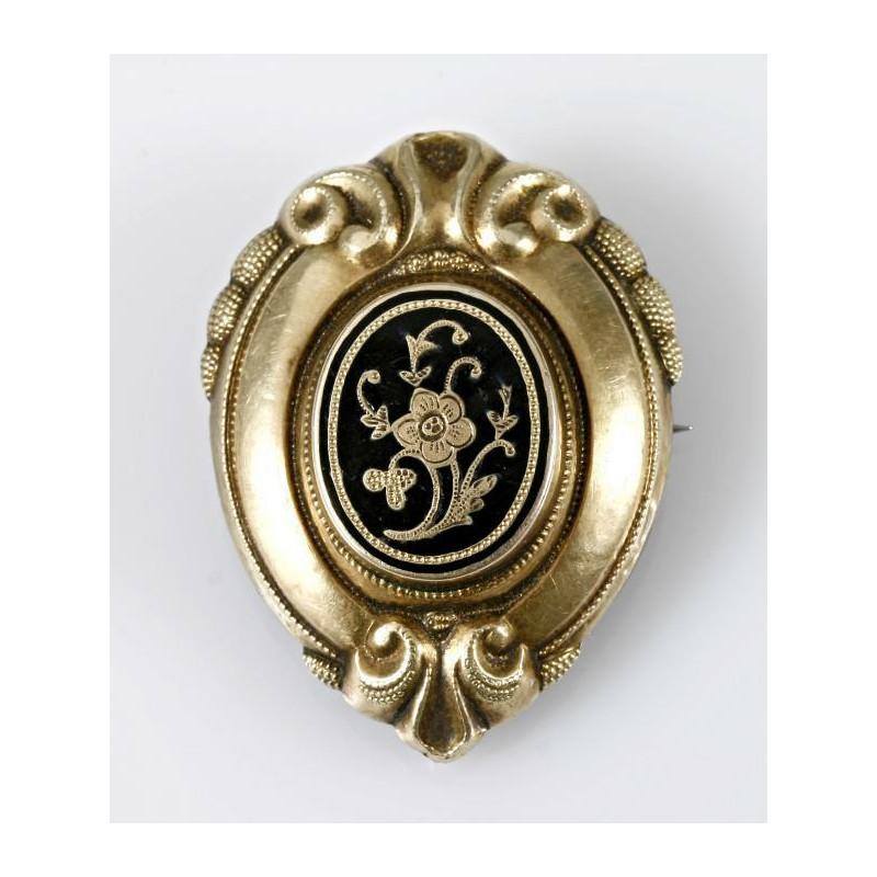 Brosche  Brosche Schaumgold Biedermeier mit Onyx und feiner Blütengravur,