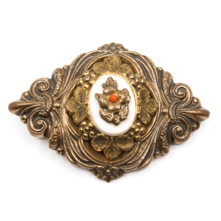 Antique Biedermeier brooch coral