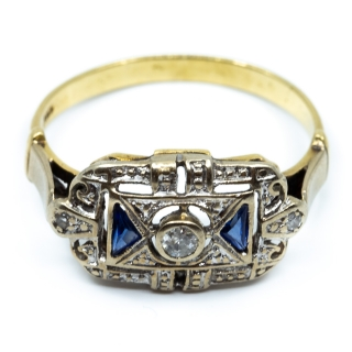 Art Deco Ring Saphir 1920